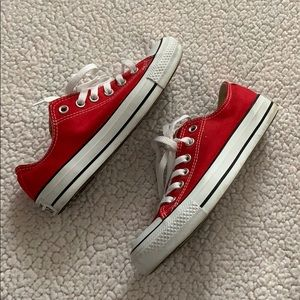 Red Low Cut Converse Chuck Taylors